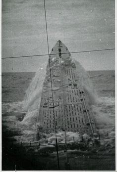 German U-427 submarine emergency surfacing, view from periscope, between 1943-45