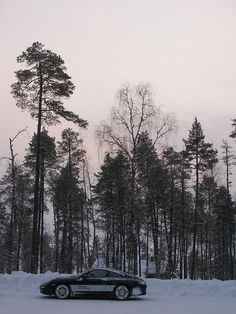 A Porsche 911 C4S sitting next to some pines near the lake in Finland where Porsche teach the skills of Ice Driving