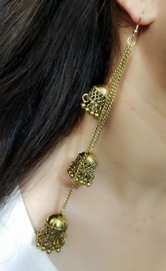 Price- Kashmiri Tribal Long Golden 3 Layer Jhumki Earring for Girls and Women. Very nice earring for any special occasion. Indian Jewelry Earrings, Jhumki Earrings, Jewelry Design Earrings, Gold Earrings Designs, Girls Earrings, Bridal Jewelry, Silver Jewelry, Prom Jewelry, Silver Bracelets