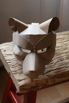 Rat mask, unpainted mask extends to forehead. Cardboard Costume, Cardboard Mask, Cardboard Sculpture, Cardboard Crafts, Paper Crafts, Disfarces Halloween, Diy For Kids, Crafts For Kids, Bear Mask