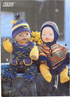 Billede: Doll Clothes Patterns, Doll Patterns, Clothing Patterns, Knitting Patterns, Knitted Hats, Crochet Hats, Baby Born, Pattern Books, Free Knitting