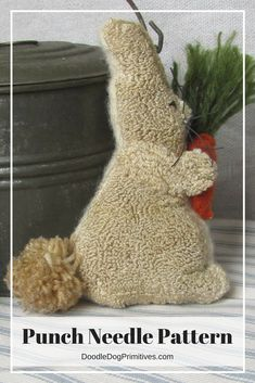 Love this punch needle bunny bowl filler - he even has a cute little carrot!