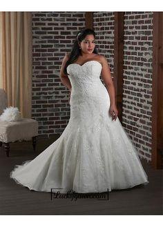 Alluring Tulle & Satin Sweetheart Neckline Natural Waistline Mermaid Plus Size Wedding Dress