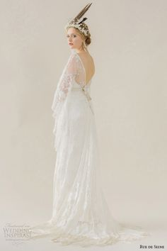 rue de seine wedding dress 2015 bridal v neckline sheer three 3 quarter loose sheer sleeves high low hemline full skirt cleo back