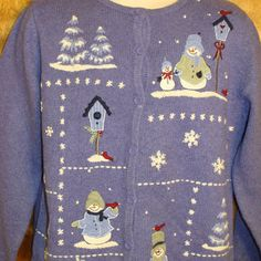 Snowmen and Birdhouses Ugly Christmas Sweater Cardigan