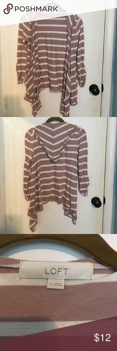 Loft xs hooded cardigan Loft hooded stripped cardigan size xs LOFT Sweaters Cardigans