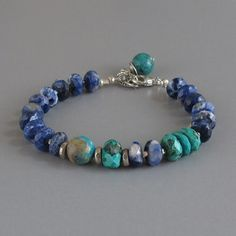 Sodalite Turquoise Gemstone Sterling Silver Bead Bracelet via Etsy Wire Jewelry, Boho Jewelry, Beaded Jewelry, Jewelery, Jewelry Accessories, Jewelry Design, Jewelry Ideas, Gemstone Bracelets, Handmade Bracelets