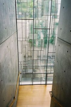 the glass design juxtaposed to finished concrete More