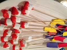 Flaming arrows - chocolate dipped and red sprinkle dipped marshmallows. Love how she added the fletching! Dragon Birthday Parties, Dragon Party, Halloween Birthday, Girl Birthday, Birthday Ideas, Medieval Party, Knight Party, Food Themes, Party Time