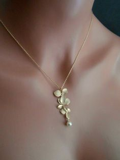 Bridesmaid necklace pearl necklace cascading orchid by casamoda