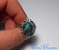 STERLING SILVER Vintage Handcrafted Turquoise Ring Sz 5.75 Free S