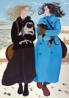 Walking the Dogs - Dee Nickerson - Southwold Gallery Illustrations, Illustration Art, Painting People, Naive Art, Dog Art, Figurative Art, Art Images, Art Drawings, Art Gallery