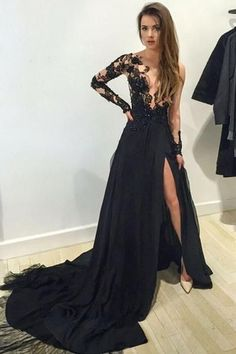 Unique design one shoulder black lace chiffon long train prom dress with slit