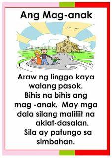 Teacher Fun Files: Tagalog Reading Passages 5 1st Grade Reading Worksheets, Grade 1 Reading, Kindergarten Reading Activities, Reading Practice, Kindergarten Teachers, Alphabet Worksheets, Short Stories For Kids, Kids Stories, Story For Grade 1