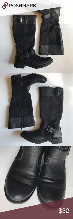 "Faded Glory Tall Black Boots Condition - great shape  Color - black   Measurements - bottom of the sole Length  of shoe - 11"" Widest part - 4"" Heel - 1.25""  S91417/0 Faded Glory Shoes"