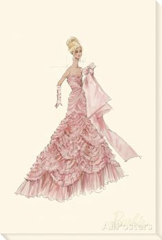 Pink Evening Gown Barbie? Fashion Stretched Canvas Print By Best - 12x18 | eBay