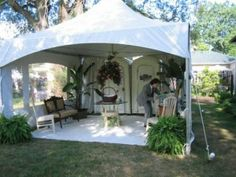 This is not at Beech Grove but it's a perfect economical option for Wedding Restrooms: Wedding porta potty - tent lounge area--scented candles--Belles vs Beaux signs--lights Yard Wedding, Tent Wedding, Outside Wedding, Home Wedding, Dream Wedding, Wedding Ideas, Wedding Reception, Wedding Stuff, Wedding Aisles