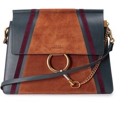 Chloe' Faye Suede Patches Shoulder Bags ($1,015) ❤ liked on Polyvore featuring bags, handbags, shoulder bags, purses, bolsas, сумки, blu, brown handbags, chloe handbags and chain shoulder bag