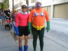 Mermaid Man and Barnacle Boy. I was thinking about this last night when I went to a super hero party. I can't believe no one showed up as them.
