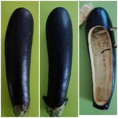 How to make eggplant shoes :-) prepare them as a container to load with your preferred filling Creative Food Art, Food Carving, Food Garnishes, Food Displays, Snacks Für Party, Eggplant Recipes, Food Decoration, Fruit Art, Food Crafts