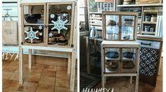 百均の材料だけで扉部分が着せ替えできるミニ食器棚を作ったのですが、もう少し大きいものに挑戦してみようと思い、さらにカスタムしてカフェ風テーブルもついた食器棚を作ってみました。