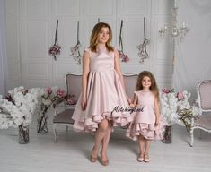 Mommy and Me outfits Mother daughter matching dress Matching Mothers Day Dresses, Mother Daughter Dresses Matching, Mommy And Me Dresses, Mother Daughter Fashion, Mommy And Me Outfits, Mom Dress, Satin Dresses, Tutu Dresses, Holiday Photos