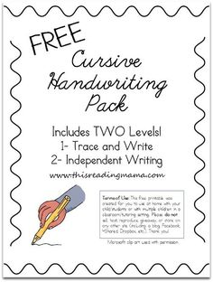 Cursive Alphabet Discover FREE Cursive Handwriting Worksheets Free Cursive Handwriting Pack - This Reading Mama Cursive Handwriting Practice, Improve Your Handwriting, Handwriting Analysis, Handwriting Worksheets, Free Cursive Worksheets, Learn Cursive, Handwriting Activities, Calligraphy Practice, Tracing Worksheets