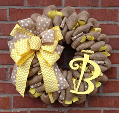 22+Monogrammed+Burlap+Wreath+by+marinascustomdesigns+on+Etsy,+$59.00