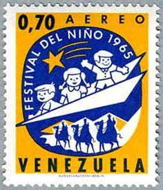 """Sello postal """"Festival del Nino 1965"""", Venezuela.   -lbk-"""