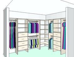 L shaped wardrobe. I like the shelves in the corner. No wasted rod space