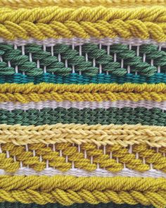 Woven Wall Hanging Yellow Weaving by UnrulyEdges on Etsy - Gelb Weaving Textiles, Weaving Art, Weaving Patterns, Tapestry Weaving, Loom Weaving, Hand Weaving, Knitting Patterns, Weaving Wall Hanging, Weaving Projects