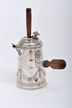 "French Silver Chocolate Pot, decoration en relief ""Flames, baskets with flowers and garlands"", turned Brazilian rosewood handle and mixer, Century History Of Chocolate, Cocoa Tea, Chocolate Wine, Water Carafe, Silver Cutlery, Tablewares, Gold Glass, China Dinnerware, Antique Items"