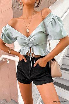 sexy chiffon blouse shirts lace up ruffles puff crop tops - BeFashionova Crop Top Outfits, Girly Outfits, Cute Casual Outfits, Stylish Outfits, Summer Outfits, Fashion Outfits, Summer Weekend Outfit, Teen Fashion, Satin Crop Top