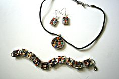 "My Mosaic 3 Piece Jewelry Set is named ""Sophia"" in honor of the amazing Sophia Loren. This set could make you feel warm and sexy ... possibly even make you speak in Italian. ;)  I adore Mid-Century Modern design and always feel the finished product represents that style when I use them. Mini ti..."
