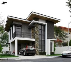 cool Modern-day design could possibly be known for its clean lines and crisp surfaces, but it doesn't signify that it can't also have a good deal of depth . Zen House Design, 2 Storey House Design, House Front Design, Minimalist House Design, Modern House Facades, Modern Bungalow House, Modern Architecture, Modern Zen House, Double Storey House