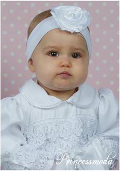 (EM-10a) Süßes Stirnband in weiss - Perle, Netz - Princessmoda - Alles für Taufe Kommunion und festliche Anlässe