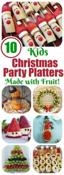 Perfect for Christmas classroom parties, potlucks and more! Kids Christmas Party Platters Made with Fruit! || Letters from Santa Holiday Blog