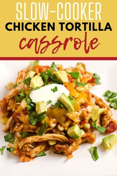 This Slow Cooker Chicken Tortilla Casserole is the perfect weeknight meal solution! With red pepper, corn, chicken, cheese and salsa, this slow cooker meal is one the whole family will love. Gluten Free with Vegan Option.
