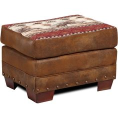 American Brown Tapestry Deer Valley Lodge Ottoman ($196) ❤ liked on Polyvore featuring home, furniture, ottomans, brown, brown furniture, tapestry footstool, tapestry ottoman, brown ottoman and nailhead furniture