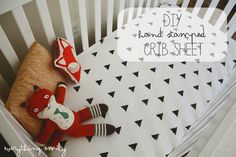 Diy Hand Stamped Crib Sheet...
