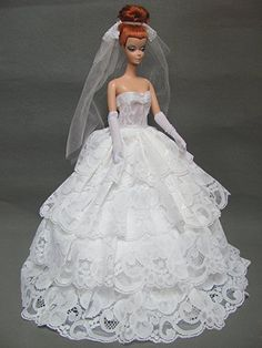 Barbie Doll Wedding Dress with Veil and Gloves Fit Inch Barbie Dolls (No Dolls) Barbie Gowns, Barbie Dress, Wedding Dress With Veil, Wedding Gowns, Bridal Gowns, Barbie Van, Barbie Doll, Gown Pattern, Barbie Collection