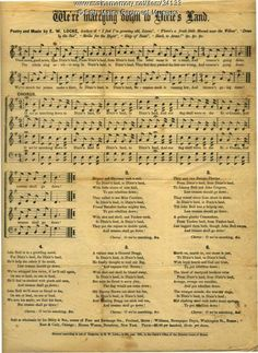 """Sheet music for patriotic song """"We're Marching Down to Dixie's Land,"""" by E.W. Locke, published 1861. Mailed to Albion, as part of a letter home by John French, Union soldier. Item # 34133 on Maine Memory Network"""