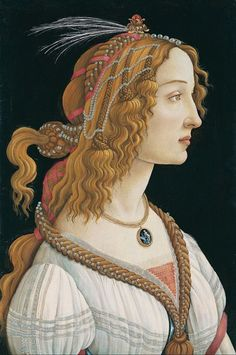 Idealized Portrait of a Lady (Portrait of Simonetta Vespucci as Nymph) 1480 by Sandro Botticelli (1445–1510). GwFKQCuQs0yvFA at Google Cultural Institute Wikimedia.