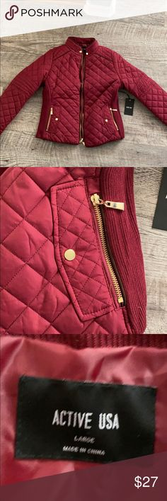 ✨NWT✨ ACTIVE USA Burgundy Jacket Never worn.  Super cute for fall. Active USA Jackets & Coats