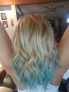 Blonde blue ombre hair                                                                                                                                                                                 More