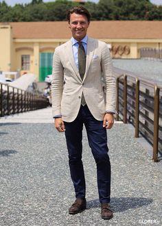 Khaki linen blazer, blue shirt, brown tie, navy pants