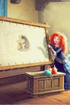 What happened to Merida in this pic? It doesn't look like the movie Merida Disney Pixar, Walt Disney, Disney Amor, Disney Films, Disney And Dreamworks, Disney Magic, Pixar Movies, Disney Characters, Disney Artwork