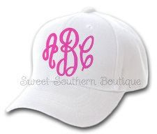 Monogrammed Baseball Cap Hat Ladies Womens by SweetSouthernB, $15.00