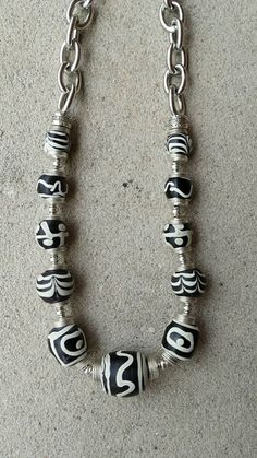 Chunky Black and White Ethnic Tribal by DesignsbyPattiLynn on Etsy