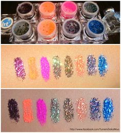 Lit Cosmetics Glitters! From the left;  I Feel Love #3, Ka-Bang! #Electric, No Doubt #Electric, Magic Dragon #3, Soul Sister #3, Solar Blast #2, Nightlife #3, Trend #3.